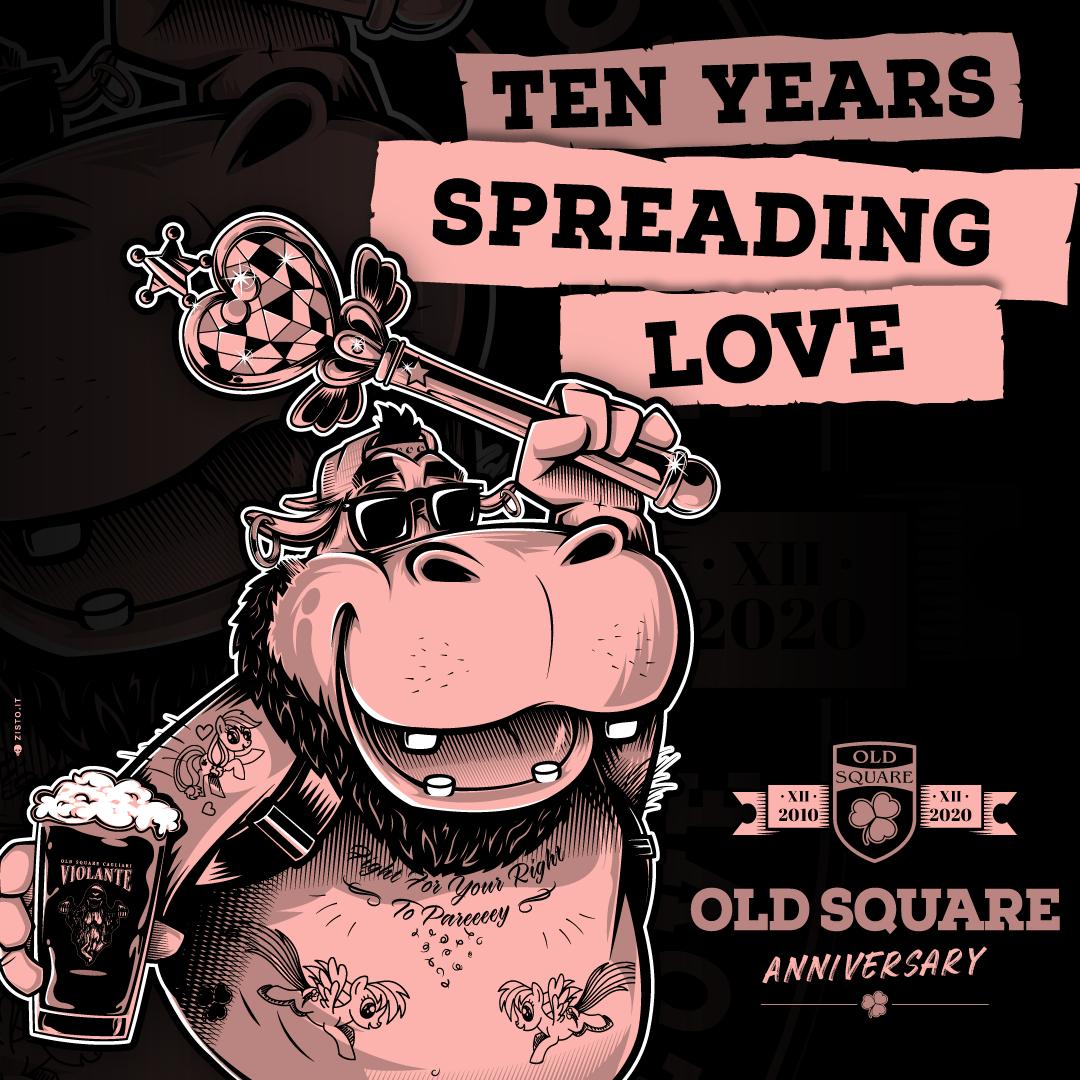 Il logo dei 10 anni di Old Square